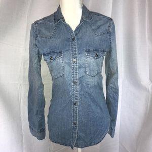 Gap Chambray Jean Button Down Blouse Shirt Top 4